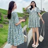 漂亮小媽咪 韓式 碎花洋裝 【D7854】 碎花小洋裝 短袖 短裙 孕婦裝 孕婦洋裝 洋裝