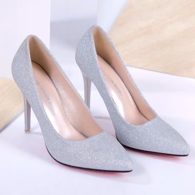 2018新款尖頭銀色高跟鞋細跟淺口磨砂閃粉女單鞋中跟黑色工作婚鞋 挪威森林