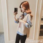 秋裝女2019新款韓版寬鬆長袖襯衫針織馬甲背心襯衣兩件套早秋上衣  圖拉斯3C百貨