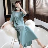 性感大露背夏季女睡裙短袖莫代爾薄款簡約純棉大碼長款素色睡衣春季新品