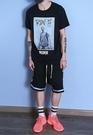 找到自己 MD 韓國 潮 男 時尚 街頭hithop 寬鬆 潮男素描字母印花 短袖T恤 特色短T 學生T恤