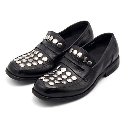 真皮皮鞋-大圓鉚釘平跟復古水洗做舊時尚男休閒鞋73kv3[巴黎精品]