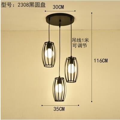 2308黑圓盤款北歐餐廳吊燈創意個性餐廳燈飯廳燈現代鐵藝
