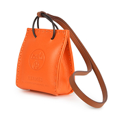 HERMES提袋造型小羊皮吊飾(經典橘)371006
