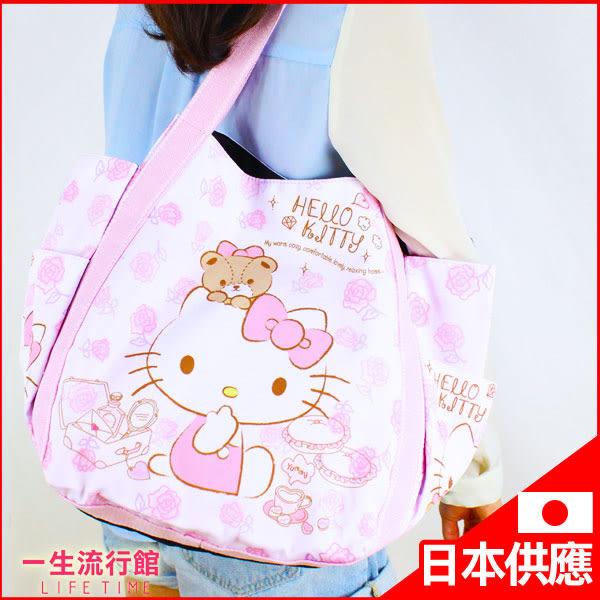 《日貨》Hello Kitty 凱蒂貓 正版 肩背包 包包 托特包 收納旅行包 水餃包 媽媽包 B15125