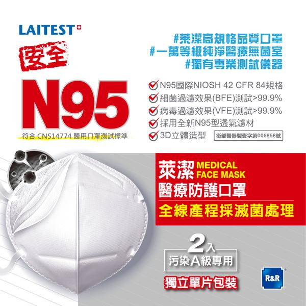 萊潔 N95醫療防護口罩-白-2入袋裝