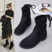 馬丁靴女秋冬短靴英倫學生粗跟短筒機車加絨復古靴子韓版 盯目家