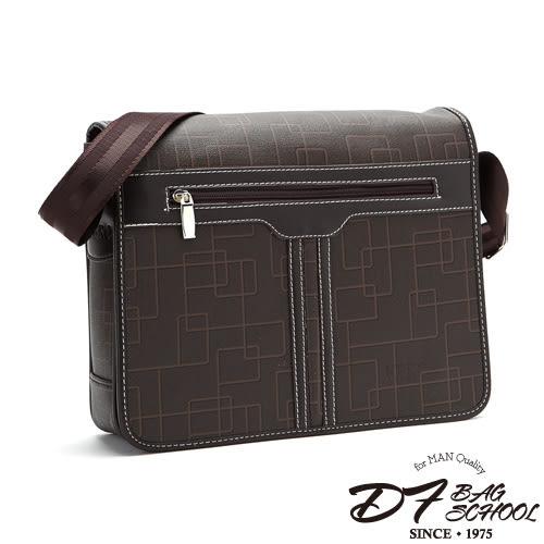 DF BAGSCHOOL - 日系古著幾何風皮革式硬挺側背包
