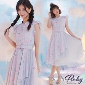 洋裝 露比設計‧荷葉海洋印花拼接百褶無袖長洋裝-Ruby s 露比午茶