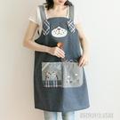 日本可愛吊帶防污反穿衣罩衣烘焙花藝咖啡廳畫畫工作服無袖圍裙 【優樂美】