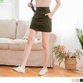 《CA1536》高含棉大口袋設計純色斜紋A字短裙 OrangeBear