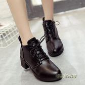 新款歐美黑色馬丁靴坡跟繫帶小皮鞋高跟女靴子潮「時尚彩虹屋」