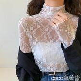 熱賣蕾絲打底衫 秋冬新款半高領洋氣小衫精致內搭蕾絲衫韓版氣質長袖網紗打底上衣 coco