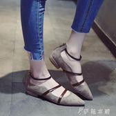 尖頭單鞋女春新款百搭韓版時尚淺口粗跟絨面後拉鍊細帶鞋子潮   伊鞋本鋪