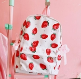 韓國學院風可愛草莓少女心綁帶書包校園學生軟妹雙肩背包
