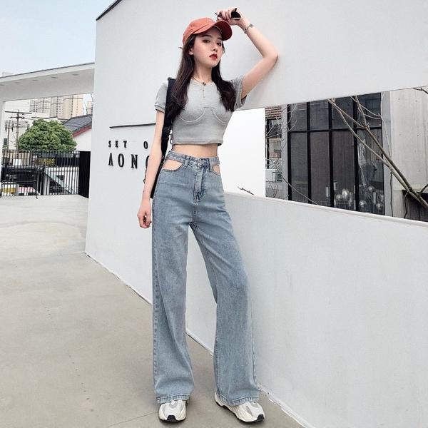 出清388 韓系高腰寬口褲性感露腰破洞牛仔褲單品長褲