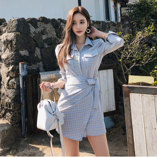 VK旗艦店 韓系襯衣領系帶優雅不規則開叉短袖洋裝
