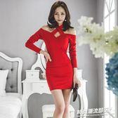 洋裝 春夏新款韓版時尚氣質掛脖性感一字肩顯瘦禮服裙包臀連身裙1769
