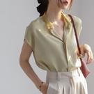 緞面襯衣女設計感小眾夏季新款復古港味真絲氣質雪紡襯衫洋氣上衣 依凡卡時尚