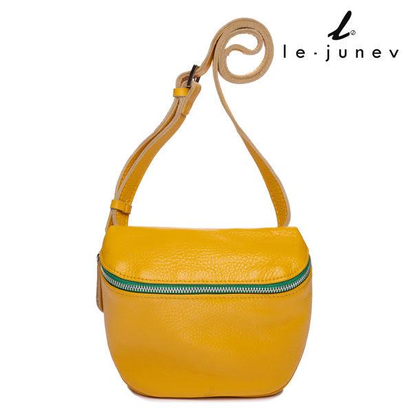 le-junev 撞色拉鍊真皮側肩腰包-陽光黃 (L1517-Yellow)