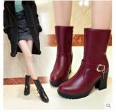 2019秋冬女靴馬丁韓版時尚保暖加絨皮靴高跟粗跟中筒靴厚底騎士靴 蘑菇街小屋