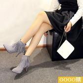 韓版磨砂流蘇短靴高跟短筒馬丁靴