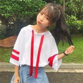 春夏新款女裝拼色織帶連帽休閒寬鬆顯瘦學生七分袖T恤套頭衛衣女『韓女王』