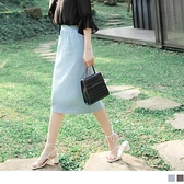 《CA2287-》高含棉純色開衩鬆緊腰親膚長裙 OB嚴選
