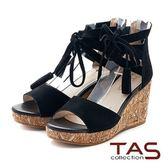 【↘5折】TAS羅馬流蘇踝綁帶麂皮楔型涼鞋-性感黑