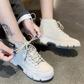 短靴.英倫風顯瘦異材拼接繫帶厚底馬丁靴.白鳥麗子