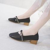 奶奶鞋女粗跟高跟鞋2021年新款夏季百搭豆豆女鞋春秋中跟單鞋瓢鞋 秋季新品