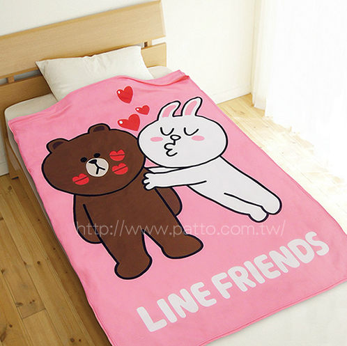 LINE正版授權愛心款- 熊大兔兔揪咪款 親嘴款 刷毛毯 / SU3410 LINE FRIENDS Brown Sally