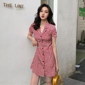 ?2019新款夏氣質韓版單排扣翻領修身格子裙短袖高腰顯瘦休閒洋裝