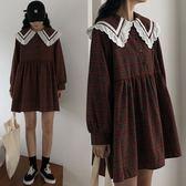中大尺碼XL-5XL時尚休閒連身裙秋胖mm格子娃娃領寬鬆連衣裙中長款R032-2716