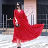 波西米亞夏季長裙2021新款修身顯瘦雪紡洋裝海邊度假沙灘裙超仙 極簡雜貨