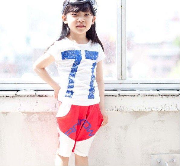 短袖套裝 印花T恤上衣+哈倫七分褲二件式AL0439 好娃娃