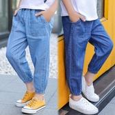 男童褲子夏裝新款兒童防蚊褲薄款牛仔褲夏季九分褲長褲中大童 快速出貨