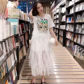 VK精品服飾 韓系學院風寬鬆亮片網紗短袖洋裝