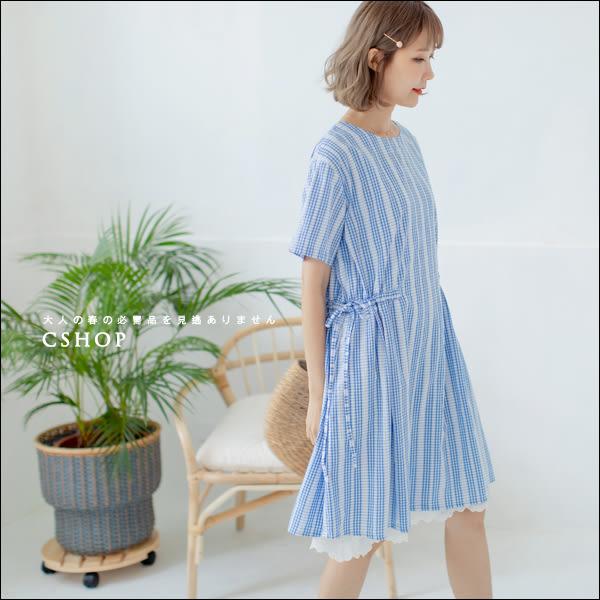 洋裝  日系造型側綁帶格紋圓點洋裝   二色-小C館日系