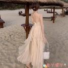 露背洋裝2021新款夏季雪紡吊帶連身裙女三亞海邊度假超仙性感露背沙灘長裙 愛丫 免運