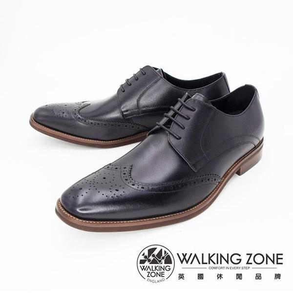 【南紡購物中心】WALKING ZONE(男) 英倫牛津雕花綁帶皮鞋 男鞋-黑(另有咖)