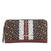 【BURBERRY】Vintage格紋及皮革環繞式拉鍊厚款皮夾(麥芽棕) 8019308 A7436