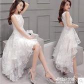 韓版少女裙子夏連身裙中長款修身收腰學生前短後長小禮服  朵拉朵衣櫥
