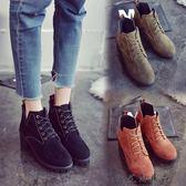 英倫風春秋單靴韓版粗跟短靴