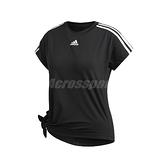 adidas 短袖T恤 3 Stripes Tie Tee 黑 白 女款 運動 訓練 【ACS】 EB4505