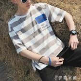 夏季新款男士條紋短袖T恤港風寬鬆圓領上衣韓版潮流半袖體桖男裝   伊鞋本鋪