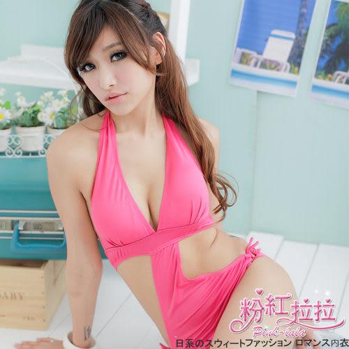 *╮粉紅拉拉【PSW66】極。性感→S型露腰遮肚。艷彩純色連身繞頸比基尼。泳裝‧桃