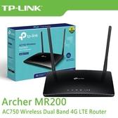 【免運費】TP-LINK Archer MR200 V4 AC750 無線雙頻 4G 進階版 LTE 極速 路由器