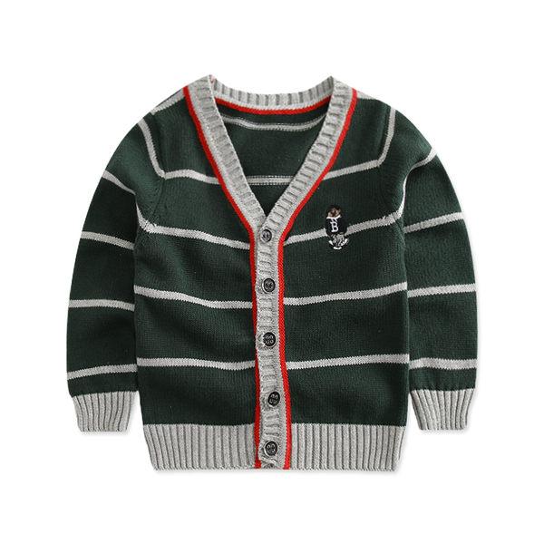童裝CUCU芯衣草~歐美秋冬款墨綠色針織條紋外套