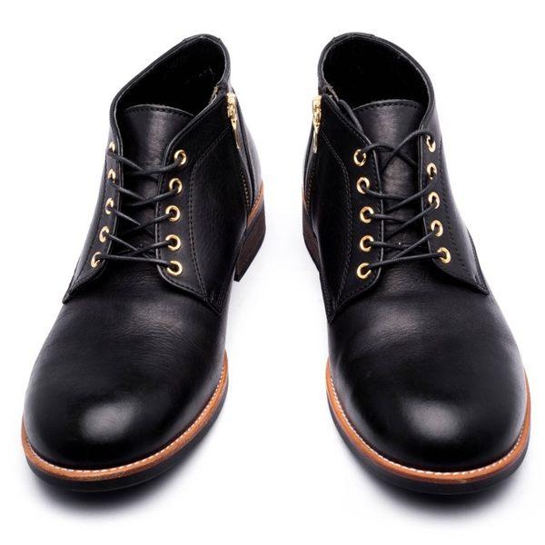 日本圓頭查卡中筒靴#22236黑 -ARGIS日本製手工皮鞋